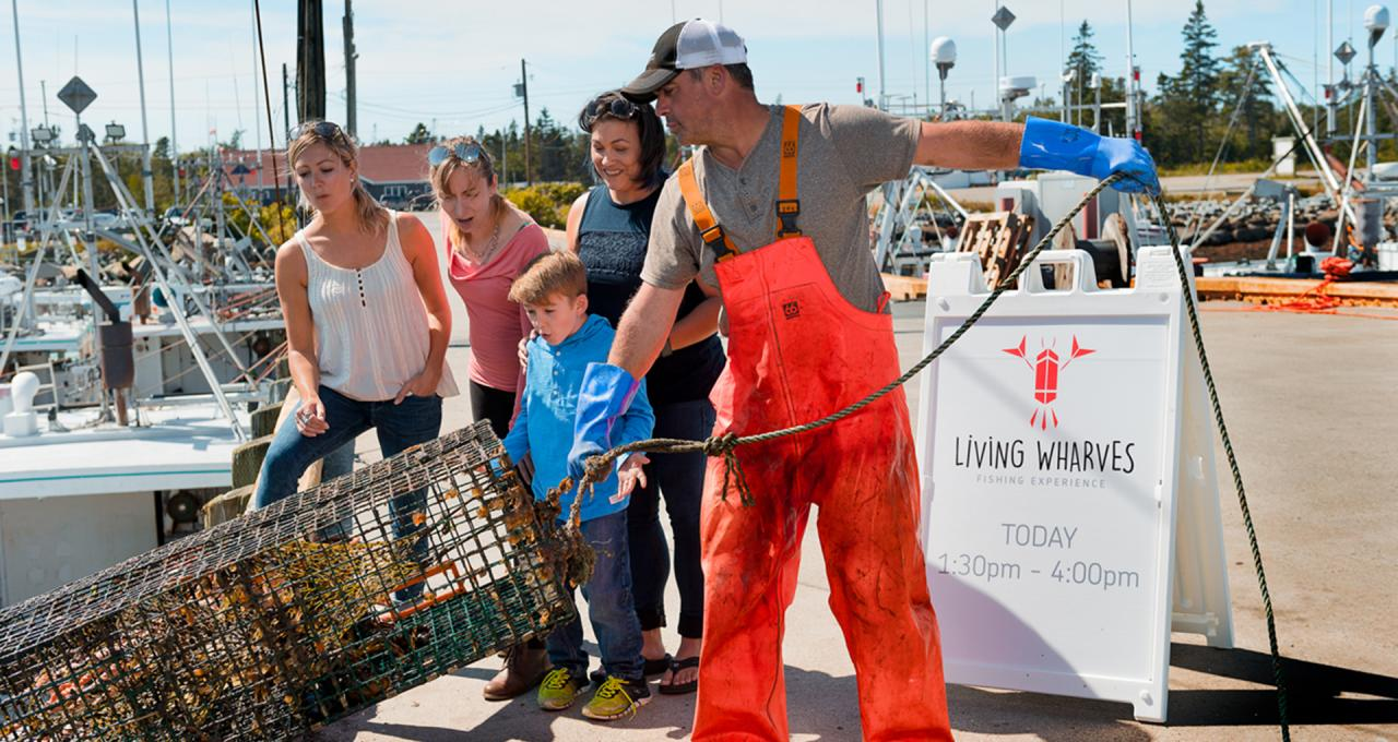 Family learns about fishing at the Living Wharves in Yarmouth area